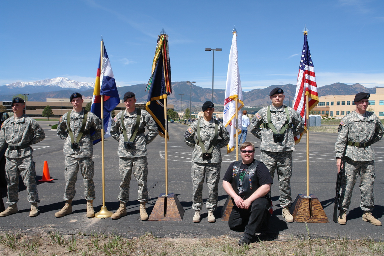 Brian With US Army Honor Guard for Defenders of Freedom Veterans Recognition Ride to Benefit the Wounded Warrior Project