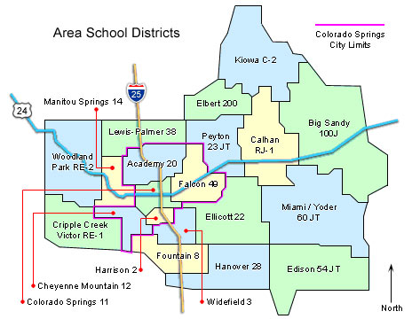 El Paso County and Pikes Peak Region School District Map