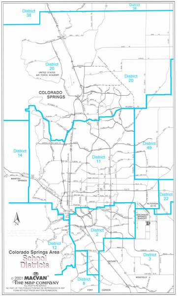 School District Maps Colorado Springs Colorado El Paso County And